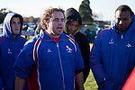 Bevan Murray addresses the Ardmore Marist team at halftime. Counties Manukau Premier Club Rugby game between Waiuku & Ardmore Marist played at Waiuku on Saturday 20th June, 2009. Waiuku won the game 28 - 25.
