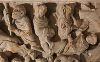 The martyrdom of St Sernin, tied by his feet to the hind leg of a bull, being dragged through the streets of Toulouse, blessing women as he passes, at Mas Saintes Puelles, on the sarcophagus of St Sernin, by the Master of Cabestany in Romanesque style, mid 12th century, in the Saint-Hilaire-D'Aude Abbey, built 11th - 14th centuries and closed 1748, when it became a parish church, Saint-Hilaire, Aude, Languedoc-Roussillon, France. St Hilary built the first chapel on this site in the 6th century, dedicated to St Sernin. In the 10th century his relics were discovered here and the church, then an abbey, rededicated to St Hilaire. Picture by Manuel Cohen