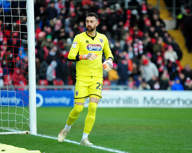 Grimsby Town's Sam Russell<br /> <br /> Photographer Andrew Vaughan/CameraSport<br /> <br /> The EFL Sky Bet League Two - Lincoln City v Grimsby Town - Saturday 19 January 2019 - Sincil Bank - Lincoln<br /> <br /> World Copyright © 2019 CameraSport. All rights reserved. 43 Linden Ave. Countesthorpe. Leicester. England. LE8 5PG - Tel: +44 (0) 116 277 4147 - admin@camerasport.com - www.camerasport.com