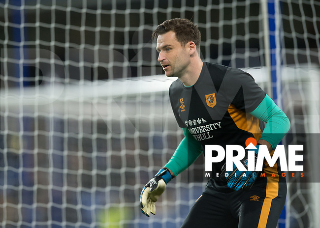David Marshall of Hull City warms up during the FA Cup 5th round match between Chelsea and Hull City at Stamford Bridge, London, England on 16 February 2018. Photo by Vince  Mignott / PRiME Media Images.