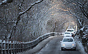 08/12/17<br /> <br /> Snow-covered cars drive along a snowy lane in Buxton, after overnight snowfall in the Derbyshire Peak District.<br />   <br /> All Rights Reserved F Stop Press Ltd. +44 (0)1335 344240 +44 (0)7765 242650  www.fstoppress.com