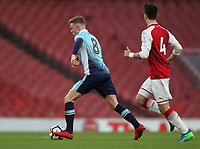 Blackpool U18's Rowan Roache competing with Arsenal U18's Robbie Burton<br /> <br /> Photographer Andrew Kearns/CameraSport<br /> <br /> Emirates FA Youth Cup Semi- Final Second Leg - Arsenal U18 v Blackpool U18 - Monday 16th April 2018 - Emirates Stadium - London<br />  <br /> World Copyright &copy; 2018 CameraSport. All rights reserved. 43 Linden Ave. Countesthorpe. Leicester. England. LE8 5PG - Tel: +44 (0) 116 277 4147 - admin@camerasport.com - www.camerasport.com