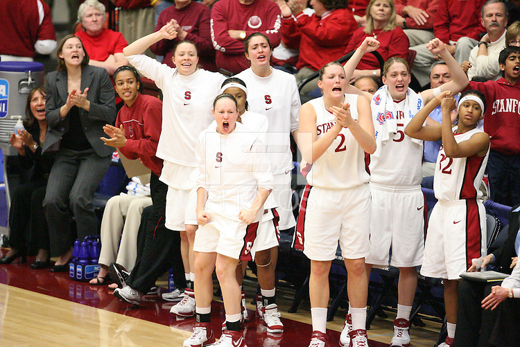 19 March 2007: Rosalyn Gold-Onwude, Christy Titchenal, Morgan Clyburn, Markisha Coleman, Clare Bodensteiner, Jayne Appel, Michelle Harrison, and Melanie Murphy during Stanford's 68-61 second round loss to Florida State in the 2007 NCAA Division I Women's Basketball Championships at Maples Pavilion in Stanford, CA.