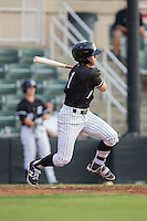 Danny Mendick (1) of the Kannapolis Intimidators follows through on his swing against the Delmarva Shorebirds at Kannapolis Intimidators Stadium on June 23, 2016 in Kannapolis, North Carolina.  The game was suspended in the bottom of the 4th inning due to rain.  (Brian Westerholt/Four Seam Images)