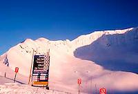 Glacier Bowl and ski trail signs, top of Alyeska Ski Resort, Girdwood, Alaska