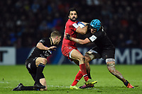 Yoann Huget of Toulouse is tackled by Zach Mercer of Bath Rugby. Heineken Champions Cup match, between Stade Toulousain and Bath Rugby on January 20, 2019 at the Stade Ernest Wallon in Toulouse, France. Photo by: Patrick Khachfe / Onside Images