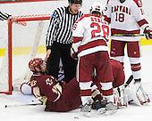 Jimmy Hayes (BC - 10), Chris Huxley (Harvard - 28) - The Boston College Eagles defeated the Harvard University Crimson 3-2 on Wednesday, December 9, 2009, at Bright Hockey Center in Cambridge, Massachusetts.