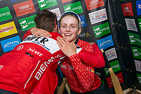 Picture by Allan McKenzie/SWpix.com - 15/05/2018 - Cycling - OVO Energy Tour Series Womens Race - Round 2:Motherwell - Megan Barker is congratulated by Nicola Juniper.