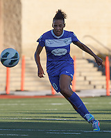 Boston Breakers forward Lianne Sanderson (10) brings the ball forward.  In a National Women's Soccer League (NWSL) match, Boston Breakers (blue) defeated FC Kansas City (white), 1-0, at Dilboy Stadium on August 10, 2013.
