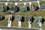Aerial photograph of neighborhood, housing developments,