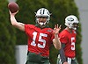 Josh McCown #15, New York Jets quarterback, throws a pass during the first day of offseason training activity at the Atlantic Health Jets Training Center in Florham Park, NJ on Tuesday, May 23, 2017.