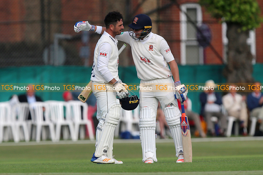 Ryan ten Doeschate (L) of Essex celebrates scoring a century, 100 runs and is congratulated by Neil Wagner during Surrey CCC vs Essex CCC, Specsavers County Championship Division 1 Cricket at Guildford CC, The Sports Ground on 10th June 2017