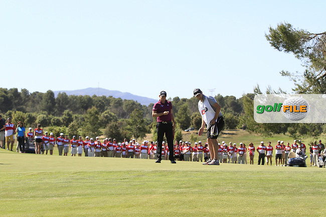 James Morrison (ENG) on the 18th green during Round 4 of the Open de Espana  in Club de Golf el Prat, Barcelona on Sunday 17th May 2015.<br /> Picture:  Thos Caffrey / www.golffile.ie