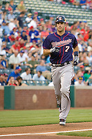 Minnesota Twins catcher Joe Mauer #7 trots home after his first inning home during a Major League Baseball game against the Texas Rangers at the Rangers Ballpark in Arlington, Texas on July 27, 2011. The first inning home run was Mauer's first home run of the season and helped Minnesota defeat Texas 7-2.  (Andrew Woolley/Four Seam Images)