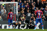 3rd November 2019; Selhurst Park, London, England; English Premier League Football, Crystal Palace versus Leicester City; Caglar Soyuncu of Leicester City celebrates as he scores for 0-1 in the 57th minute - Strictly Editorial Use Only. No use with unauthorized audio, video, data, fixture lists, club/league logos or 'live' services. Online in-match use limited to 120 images, no video emulation. No use in betting, games or single club/league/player publications