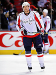 10 February 2010: Washington Capitals' center Brooks Laich warms up prior to a game against the Montreal Canadiens at the Bell Centre in Montreal, Quebec, Canada. The Canadiens defeated the Capitals 6-5 in sudden death overtime, ending Washington's team-record winning streak at 14 games. Mandatory Credit: Ed Wolfstein Photo