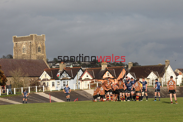 The forwards get set to scrum down at a picturesque Carmarthen Park.<br /> British &amp; Irish Cup<br /> Carmarthen Quins v Leinster A<br /> Carmarthen Park<br /> 25.10.14<br /> &copy;Steve Pope-SPORTINGWALES