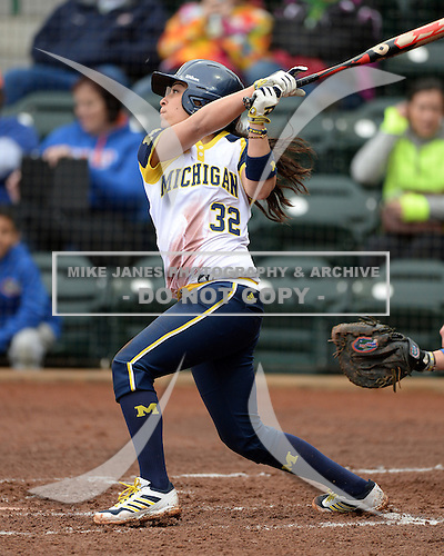 Michigan Wolverines shortstop Sierra Romero (32) at bat during the season opener against the Florida Gators on February 8, 2014 at the USF Softball Stadium in Tampa, Florida.  Florida defeated Michigan 9-4 in extra innings.  (Copyright Mike Janes Photography)