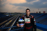 Jun. 28, 2012; Joliet, IL, USA: NHRA top fuel dragster driver Brady Kalivoda poses for a portrait prior to the Route 66 Nationals at Route 66 Raceway. Mandatory Credit: Mark J. Rebilas-