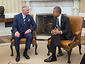 United States President Barack Obama, right, hosts His Royal Highness Charles, The Prince of Wales, left, for a meeting in the Oval Office of the White House in Washington, D.C. on Thursday, March 19, 2015.   Vice President Joe Biden also was in attendance.<br /> Credit: Ron Sachs / Pool via CNP