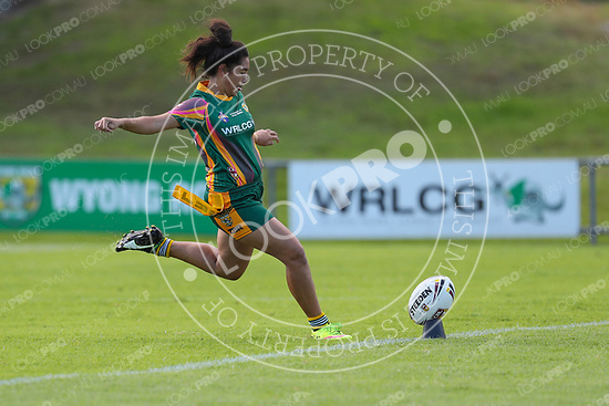 The Wyong Roos play Terrigal Sharks in Round 5 of the Ladies League Tag Central Coast Rugby League Division at Morry Breen Oval on 30 April, 2017 in Kanwal, NSW Australia. (Photo by Paul Barkley/LookPro)