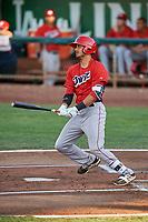 Ryan Vega (21) of the Orem Owlz bats against the Ogden Raptors at Lindquist Field on September 2, 2017 in Ogden, Utah. Ogden defeated Orem 16-4. (Stephen Smith/Four Seam Images)