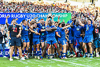 Team of France celebrates the Title of World Champion U20 during the Final World Championship U20 match between England and France on June 17, 2018 in Beziers, France. (Photo by Alexandre Dimou/Icon Sport)