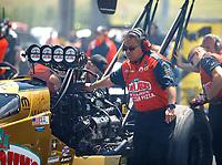 Jun 18, 2017; Bristol, TN, USA; Crew chief Todd Okuhara for NHRA top fuel driver Leah Pritchett during the Thunder Valley Nationals at Bristol Dragway. Mandatory Credit: Mark J. Rebilas-USA TODAY Sports