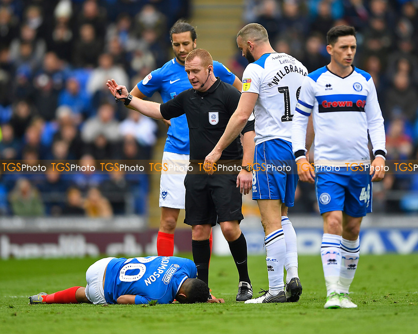 Injury concern for Nathan Thompson of Portsmouth during Portsmouth vs Rochdale, Sky Bet EFL League 1 Football at Fratton Park on 13th April 2019