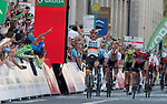 Pascal Ackermann (GER) Bora-Hansgrohe wins Eschborn-Frankfurt 2019 with John Degenkolb (GER) Trek-Segafredo in 2nd and four-time winner Alexander Kristoff (NOR) UAE Team Emirates 3rd place, running 187.5km from Eschborn to Frankfurt, Germany. 1st May 2019.<br /> Picture: GFR_FotoRoth | Cyclefile<br /> <br /> All photos usage must carry mandatory copyright credit (© Cyclefile | GFR_FotoRoth)