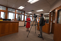 NWA Democrat-Gazette/J.T. WAMPLER Eva Madison does a television interview with KNWA's Andrew Epperson Monday Nov. 4, 2019 after she was the first person to file to run for public office on the first day of filing at the Washington County Courthouse. Madison is running for Justice of the Peace for Washington County.