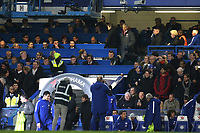 Arsenal Manager, Arsene Wenger, takes his seat in the stand during Chelsea vs Arsenal, Caraboa Cup Football at Stamford Bridge on 10th January 2018