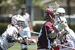 Orange, CA 05/01/10 - Chas Stiegler (Chapman # 8) and Travis Abraham (LMU # 9) in action during the LMU-Chapman MCLA SLC semi-final game in Wilson Field at Chapman University.  Chapman advanced to the final by defeating LMU 19-10.