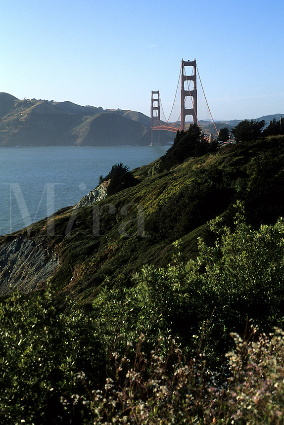 Famous Golden Gate Bridge landmark on bay in San Francisco Californi