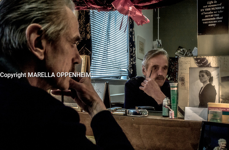 Portrait of Academy award, Golden Globe and Tony award winner, Jeremy Irons having a break before going on stage in LONG DAY JOURNEY INTO NIGHT.<br /> <br /> PHOTO :  MARELLA OPPENHEIM - AGENCE QUEBEC PRESSE