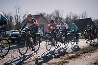 Oliver Naesen (BEL/AG2R-La Mondiale) over the Varent cobbles<br /> <br /> 70th Kuurne-Brussel-Kuurne 2018<br /> Kuurne › Kuurne: 200km (BELGIUM)