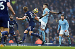 Harry Kane of Tottenham Hotspur is challenged by Nicolas Otamendi of Manchester City during the premier league match at the Etihad Stadium, Manchester. Picture date 16th December 2017. Picture credit should read: Robin ParkerSportimage