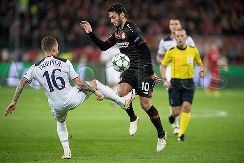 18.10.2016. Leverkusen, Germany. UEFA Champions League footbll. Bayer Leverkusen versus Tottenham Hotspur.  Hakan Calhanoglu (Bayer 04 Leverkusen 10) challenged by Kieran Trippier (Tottenham Hotspur 16)