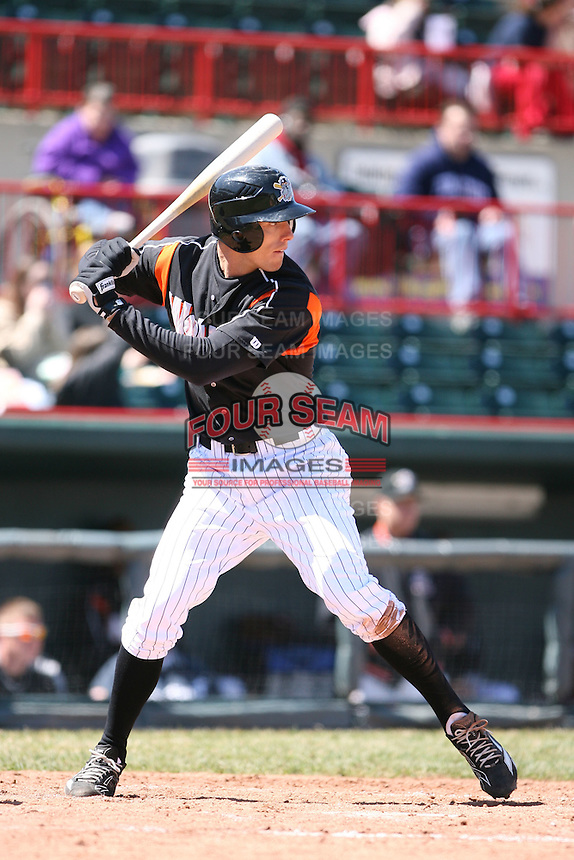 April 15th 2008:  Infielder Kody Kirkland (8) of the Erie Seawolves, Class-AA affiliate of the Detroit Tigers, during a game at Jerry Uht Park in Erie, PA.  Photo by:  Mike Janes/Four Seam Images
