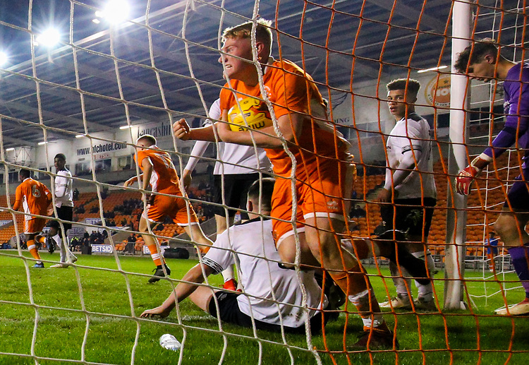 Blackpool's Owen Watkinson celebrates after pulling  goal back<br /> <br /> Photographer Alex Dodd/CameraSport<br /> <br /> The FA Youth Cup Third Round - Blackpool U18 v Derby County U18 - Tuesday 4th December 2018 - Bloomfield Road - Blackpool<br />  <br /> World Copyright &copy; 2018 CameraSport. All rights reserved. 43 Linden Ave. Countesthorpe. Leicester. England. LE8 5PG - Tel: +44 (0) 116 277 4147 - admin@camerasport.com - www.camerasport.com