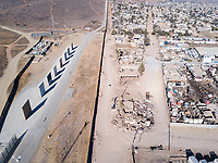 U.S. Mexico border wall and Trump's sample walls.  Tijuana, Mexico