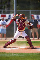 Boston College Eagles catcher Gian Martellini (2) throws down to second base after warmup pitches in between innings during a game against the Central Michigan Chippewas on March 3, 2017 at North Charlotte Regional Park in Port Charlotte, Florida.  Boston College defeated Central Michigan 5-4.  (Mike Janes/Four Seam Images)