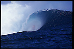 MAY 2000    -  Teahupoo, Tahiti   -  Mick Campbell gets so tubed at the worlds heaviest left Teahupoo. ©2000 Andrew Kaufman, All rights reserved.