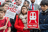 Camden Councillor Tulip Siddiq.  Stop HS2 demonstration outside Parliament on the day of the second reading of the HS2 Hybrid Bill.