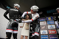 Gert Steegmans (BEL/Trek Factory Racing) checks Stijn Devolder's (BEL/Trek Factory Racing) race number on stage as he doesn't remember any more...<br /> <br /> 70th Dwars Door Vlaanderen 2015