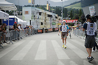 a 'walking-not-riding' Alexis Gougeard (FRA/Ag2r-La Mondiale) after the finish line; his derailleur broke down and that frustrated him clearly<br /> <br /> Stage 18 (ITT) - Sallanches &rsaquo; Meg&egrave;ve (17km)<br /> 103rd Tour de France 2016