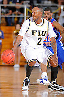 12 November 2010:  FIU's Stephon Weaver (2) handles the ball in the first half as the FIU Golden Panthers defeated the Florida Memorial Lions, 89-73, at the U.S. Century Bank Arena in Miami, Florida.