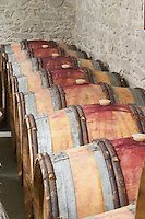 Oak barrel aging and fermentation cellar. Domaine Gravallon Lathuiliere, Morgon, Beaujolais, France
