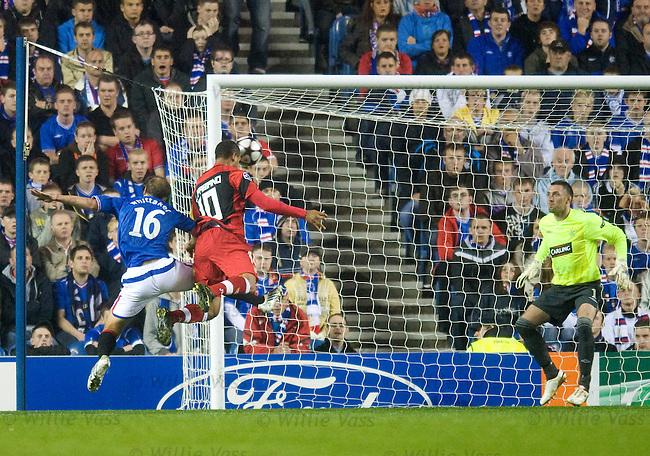 Luis Fabiano scores goal no 3 past Allan McGregor