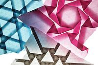 New York, NY, USA - December 14, 2011: Three Origami tessellation designs folded by Esmé Cribb.